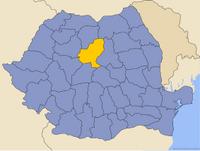 Harta României cu Judeţul Mureş indicat