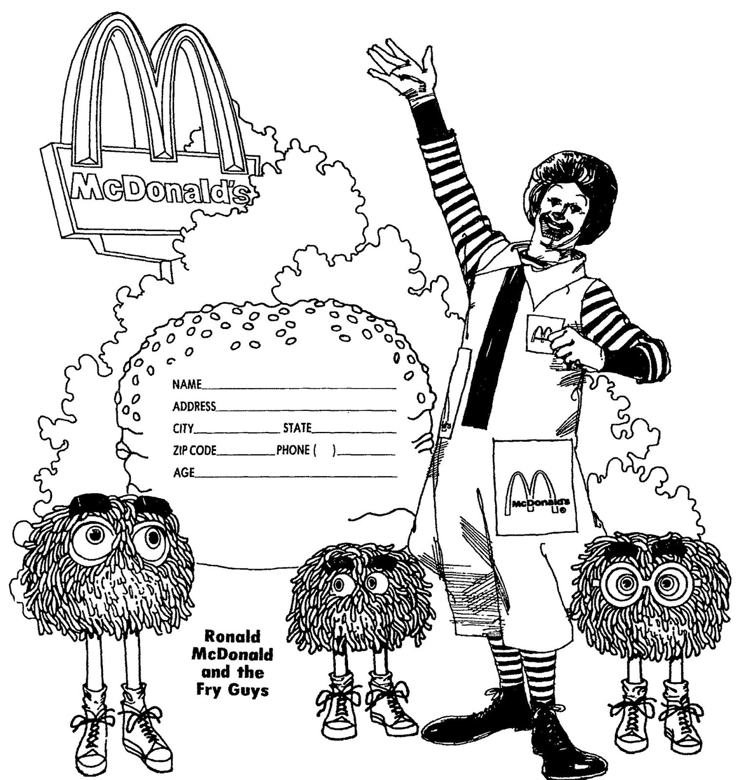 image  ronald mcdonald coloring paper  mcdonald's