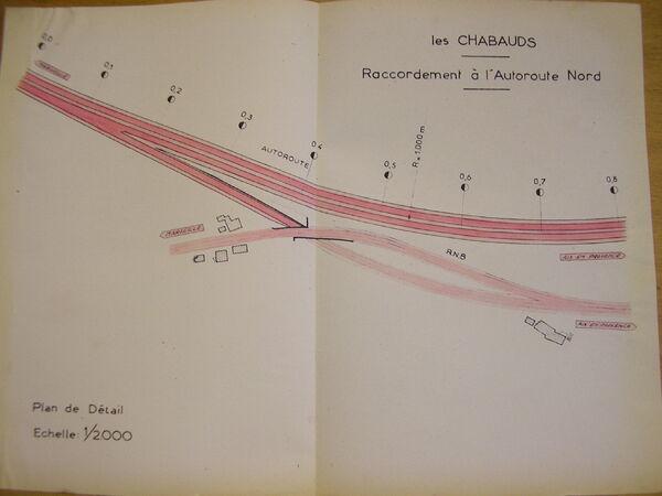 Projet de déviation de la RN8 entre Les Chabauds et Aix-en-Provence (1955). Raccordement A51-RN8 aux Chabauds. (c) G.E.