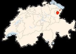Situation Canton Appenzell Rhodes-Intérieures