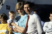 Charles, Diana and baby William in Australia