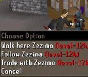 Zezima, wielding a dragon dagger, is shown running.