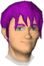 The chat head of Suomi in-game. He has medium purple hair and is smiling.