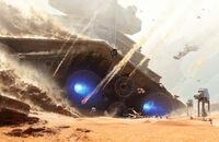 Падение «Причинятеля», Имперского Звёздного разрушителя, на поверхность Джакку
