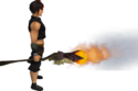 Skeletal staff of fire equipped