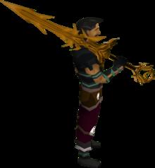 Golden Zamorak godsword equipped