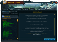 Adventures (Quests) interface