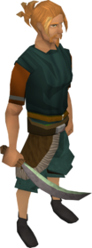Jade machete equipped