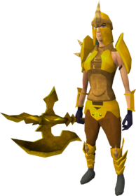 Golden Dharok the Wretched's equipment equipped (female)