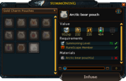 Infuse summoning pouch interface