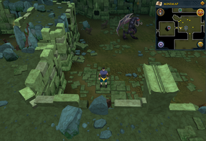 Scan clue Brimhaven Dungeon lower level between the vines and Summoning obelisk