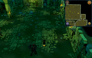 Scan clue Brimhaven Dungeon lower level in eastern part of red dragon chamber