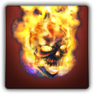 Flaming skull icon