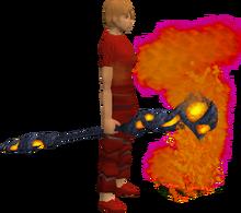 Lava battlestaff equipped