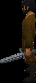 Off-hand steel sword equipped