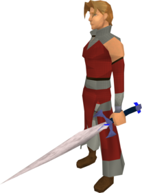 Off-hand blurite sword equipped