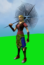 Spooky spider parasol equipped