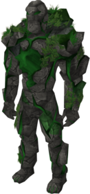 Emerald golem outfit equipped