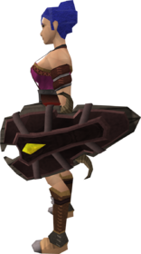 Megaleather shield equipped