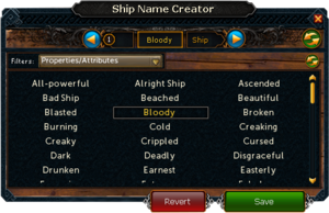 Ship name creator interface