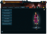Customisations (Titles) interface