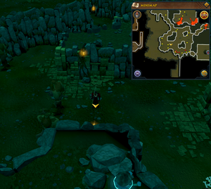 Scan clue Brimhaven Dungeon lower level west side of fire giant chamber