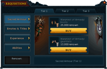 Requisitions Sacred Armour (Armadyl Tier 1)