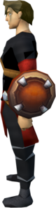 Hard leather shield equipped