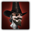 Revolutionary mask and hat icon