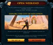 Open Weekend interface