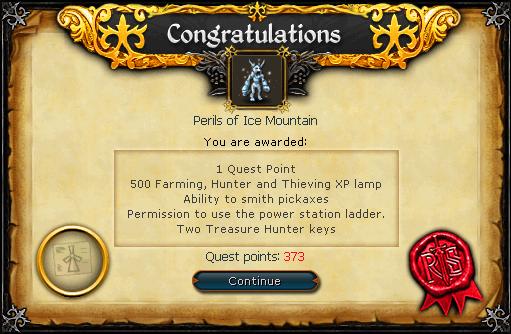 Perils of Ice Mountain reward