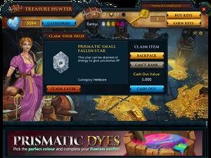 Treasure Hunter prize claim screen