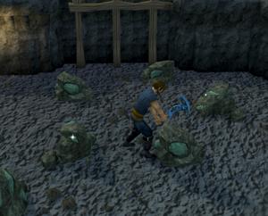 Mining adamantite ore
