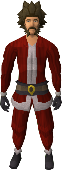 A male player wearing the Santa suit.