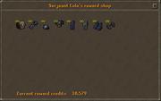 Serjeant Cole's reward shop