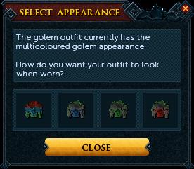 Magic golem outfit recolour interface
