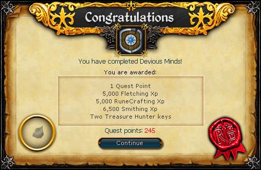 Devious Minds reward