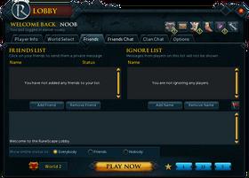 RuneScape Lobby Friends