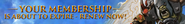 Membership about to expire lobby banner