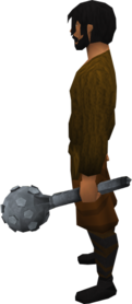 Off-hand steel mace equipped