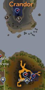 Crandor and Karamja Dungeon entrances locations