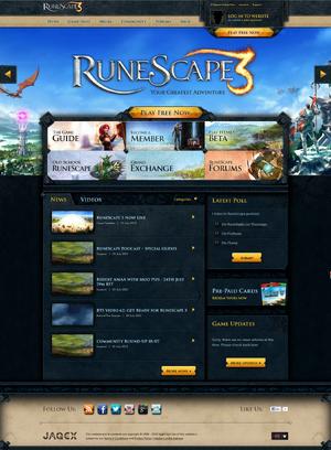 RuneScape homepage 22 July 2013