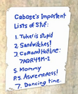 Caboose's Important List of Stuff