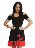 http://www.hottopic.com/product/rwby-ruby-rose-scythe-cold-shoulder-dress/10765330