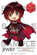 Chibi illustration of Ruby Rose for RWBY Manga Anthology Red Like Roses by Ein Lee