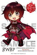 Chibi illustration of Ruby Rose for RWBY Manga Anthology Red Like Roses by Ein Lee
