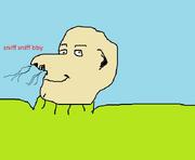 Le turtleneck sniff man