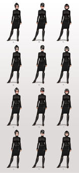 Viola and Kiki DeWynter concept art - 12 alternate outfits