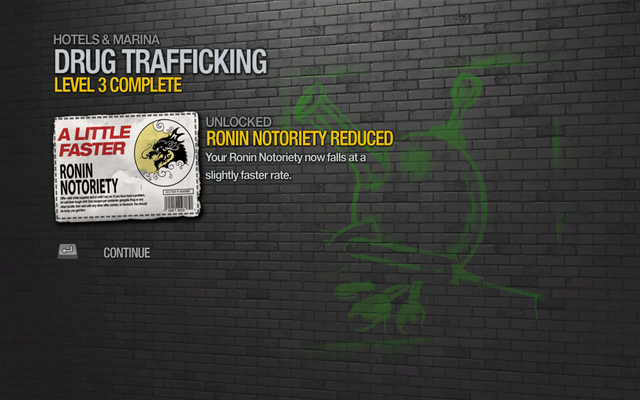File:Ronin Notoriety Reduced by 5% unlocked by Drug Trafficking level 3 in Saints Row 2.png