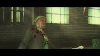 Eternal Sunshine - Mr Sunshine staggering with bullet holes